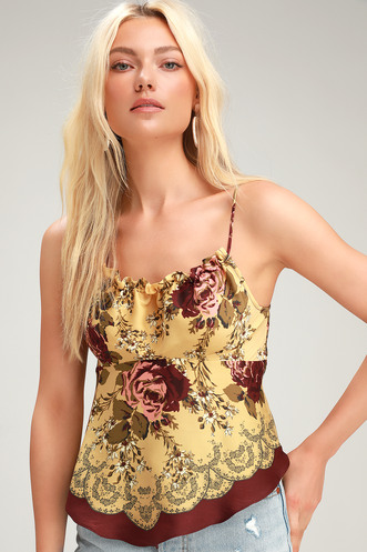 1b0924d0e6 Dance All Night Golden Yellow Floral Print Tie-Back Cami Top