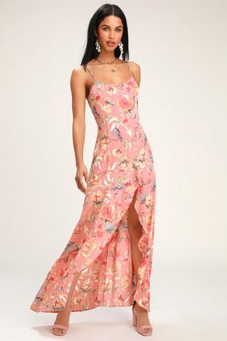 1d3bd326206 Zinnia Blush Pink Floral Print High-Low Maxi Dress