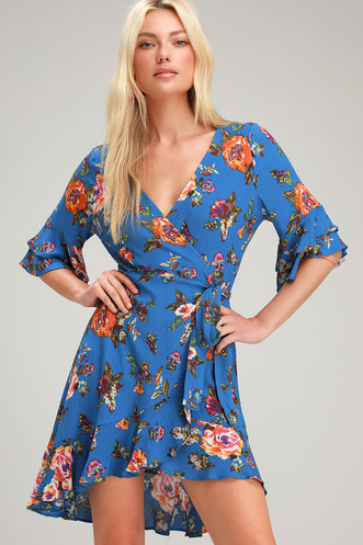 4835f8dbdb7e Tazanna Blue Floral Print Ruffled Wrap Dress