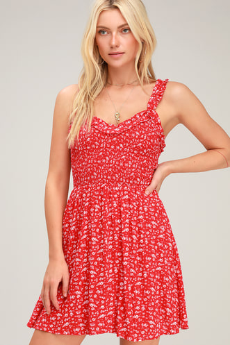 949c7360a24 Mellie Red Floral Print Smocked Mini Dress