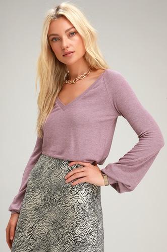cea07f825587c2 Tori Heather Purple V-Neck Long Sleeve Sweater Top