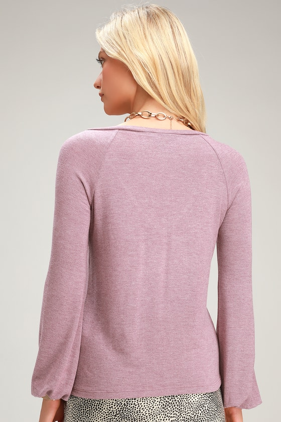 d29522f507e Cute Purple Top - Long Sleeve Top - Sweater Top - V-Neck Top