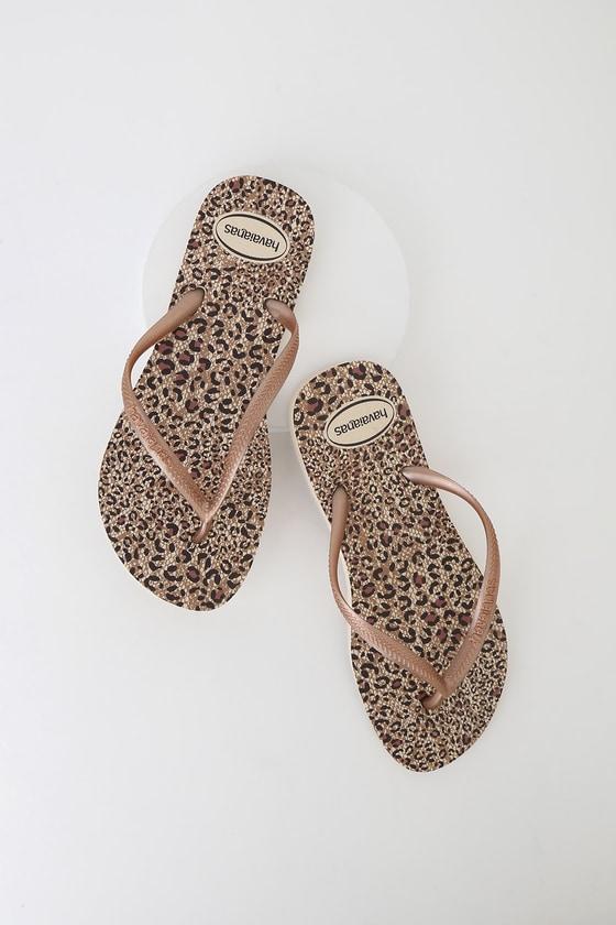 bc14b12ab Fun Havaianas Slim Flip Flops - Animal Print Flip Flops - Sandals