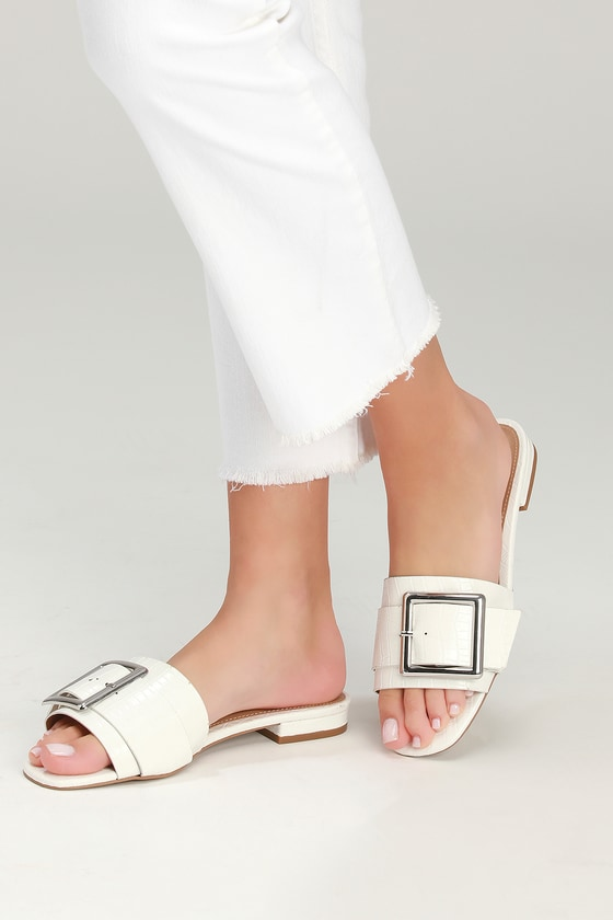 After Awhile White Crocodile Embossed Slide Sandals