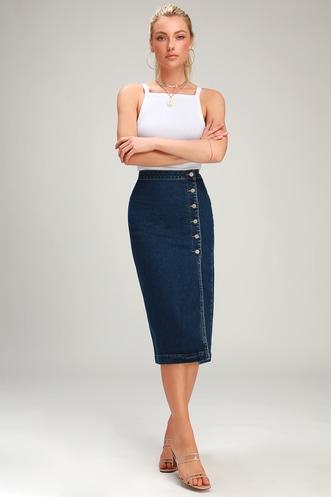 e3b9dcc58d1 Jasmine Dark Wash Buttoned Midi Skirt