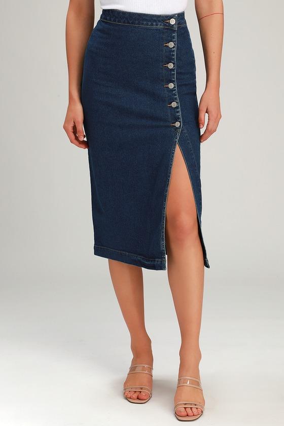43e7085ef Free People Jasmine - Button-Up Midi Skirt - Denim Midi Skirt