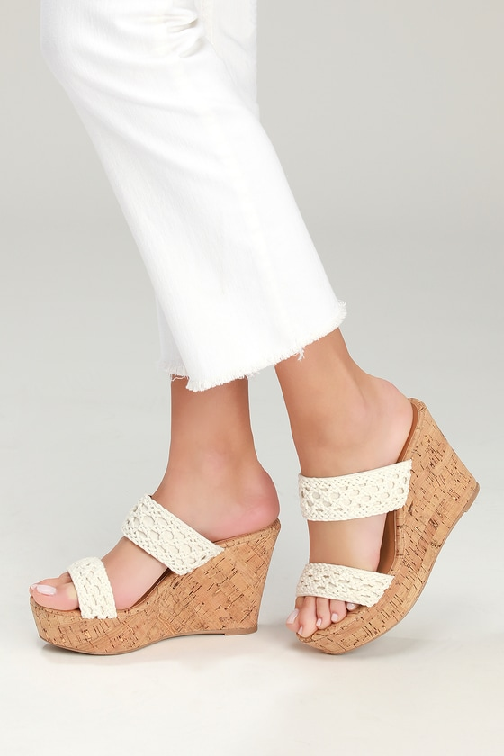 b7ee9efb152 Cute Cork Sandals - Wedge Sandals - White Crochet Sandals