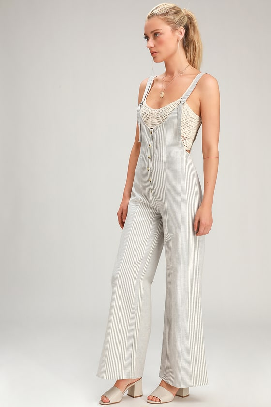 Fina Grey And White Striped Overall Jumpsuit by Amuse Society