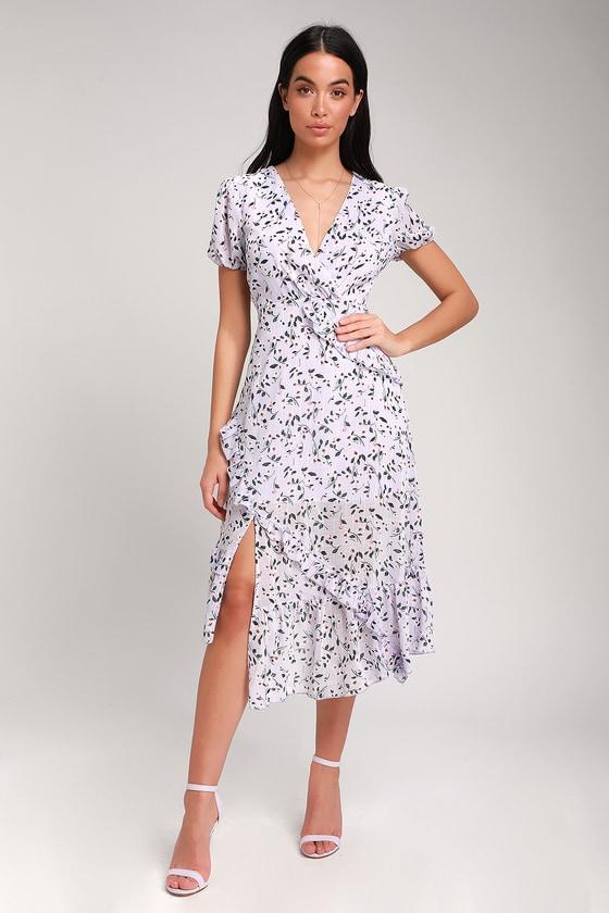 ad623b649f5 Lovely Lavender Floral Print Dress - Ruffled Dress - Midi Dress