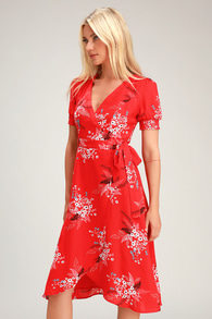 f1d67ce38e All the Sweetness Red Floral Print Puff Sleeve Midi Wrap Dress