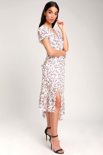 5fa1eef238a Petals and Poetry White Floral Print Ruffled Midi Dress