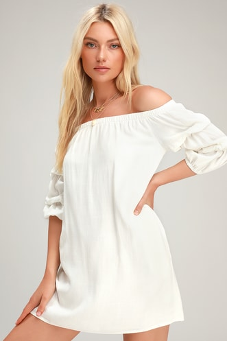 725421228908 By the Pier White Off-the-Shoulder Puff Sleeve Mini Dress