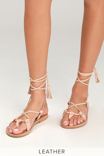 8cb4e7a426e9 Kos Natural Leather Flat Lace-Up Sandals