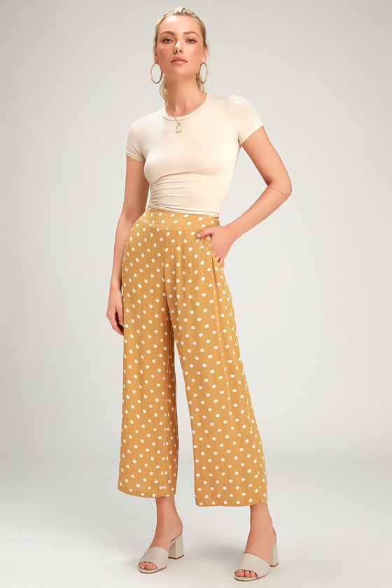 1930s Wide Leg Pants and Beach Pajamas Cut Through Golden Yellow Polka Dot Culotte Pants - Lulus $36.00 AT vintagedancer.com