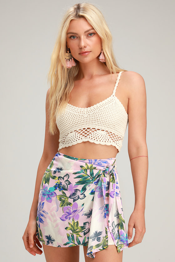 fac37f74621 Chic Pink Floral Skirt - Pink Wrap Skirt - Tropical Mini Skirt