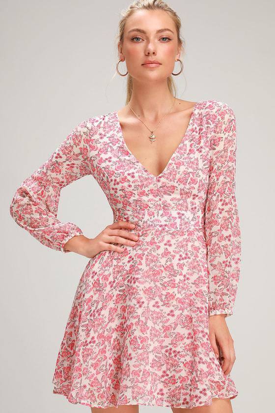 BB Dakota SUNDAY BRUNCH PINK FLORAL PRINT LONG SLEEVE MINI DRESS
