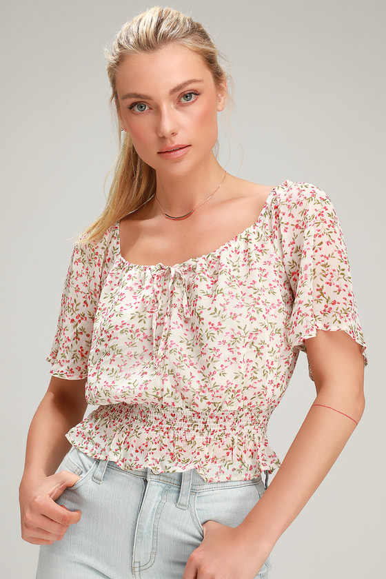 Women's 70s Shirts, Blouses, Hippie Tops Tabby White Floral Print Smocked Crop Top - Lulus $38.00 AT vintagedancer.com