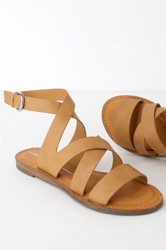 7647a44e0 Quill Tan Strappy Flat Sandals