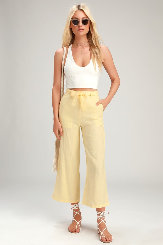 Amalfi Yellow Belted Wide-Leg Pants - Lulus