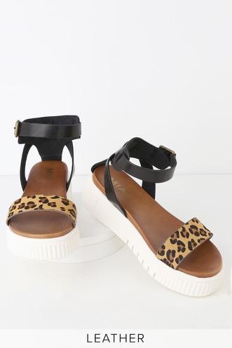 b266993d20cb MIA Lillie Black Striped Platform Slides.  69 · Lunna Leopard Pony Fur  Leather Flatform Sandals