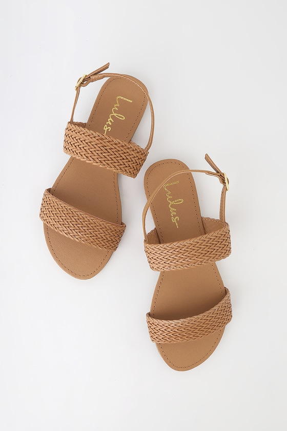 Lulus Exclusive! Shine as bright as a sunny afternoon in the Lulus Blaise Camel Flat Sandals! Sleek vegan leather shapes a woven toe band and adjustable quarter strap (with gold buckle). Fit: This garment fits true to size. 0. 25\\\