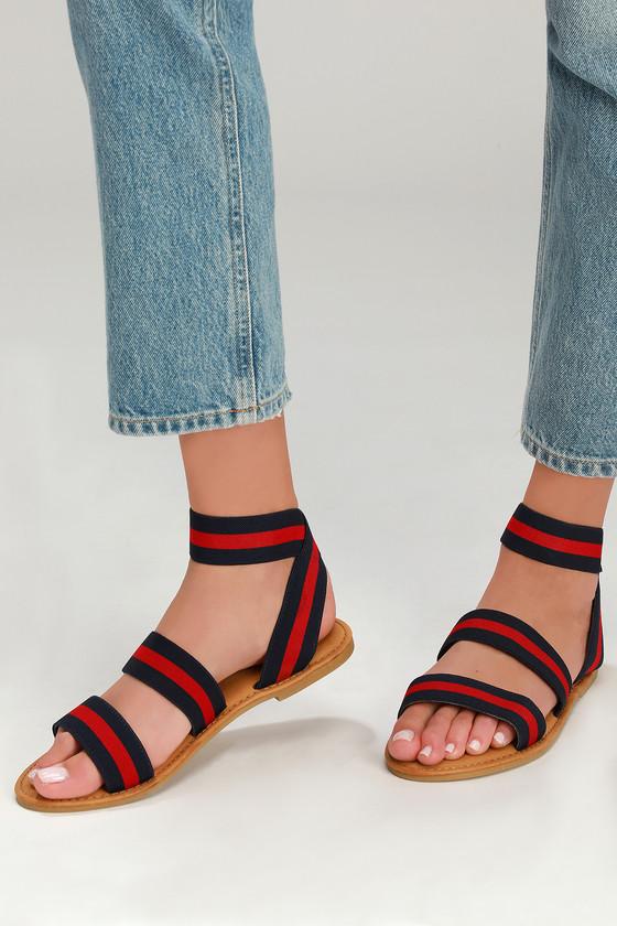 Striped Sandals - Flat Sandals - Lulus