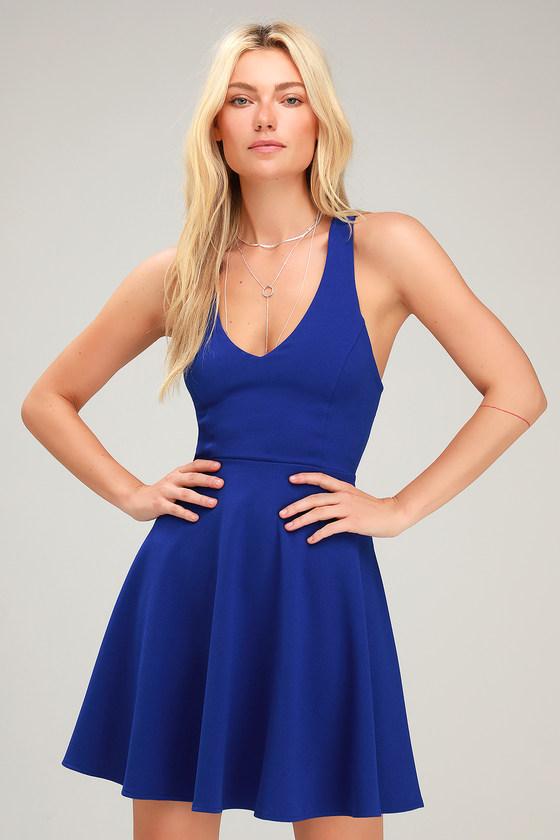 2afc9205b00f Flirty Royal Blue Dress - Strappy Skater Dress - Backless Skater