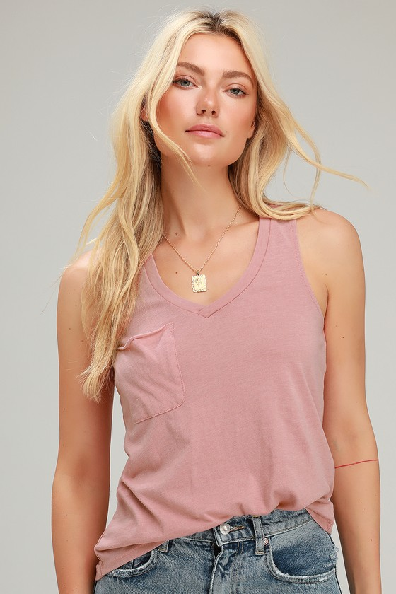 3940581affc5e7 Z Supply The Pocket Racer Top - Dusty Rose Tank Top - Racer Tank