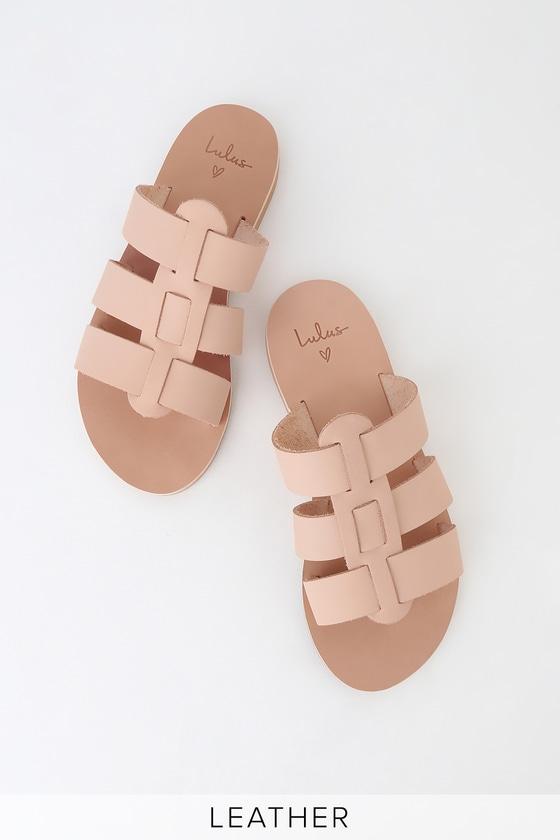 8c0a9e598 Cute Leather Slides - Natural Slide Sandals - Gladiator Sandals