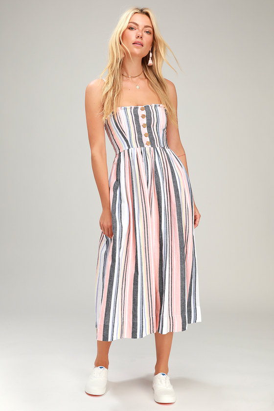 8d4fc5953a Free People Lilah - Striped Midi Dress - Sleeveless Smocked Dress