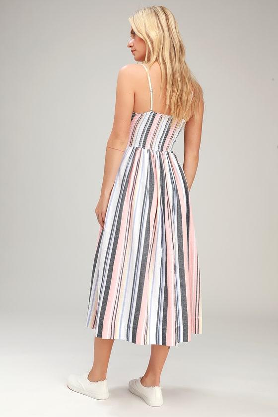 451b26b8b5 Free People Lilah - Striped Midi Dress - Sleeveless Smocked Dress