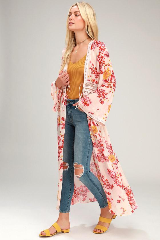 89b140454569 Cute Cream Duster - Chiffon Duster - Floral Print Duster - Kimono
