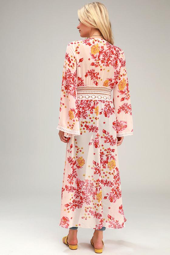 f657c663f697 Cute Cream Duster - Chiffon Duster - Floral Print Duster - Kimono