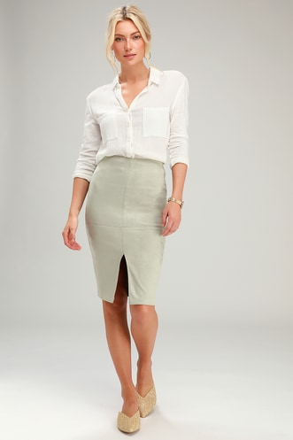 2649eac2842e5 Total Allure Sage Green Suede Pencil Skirt