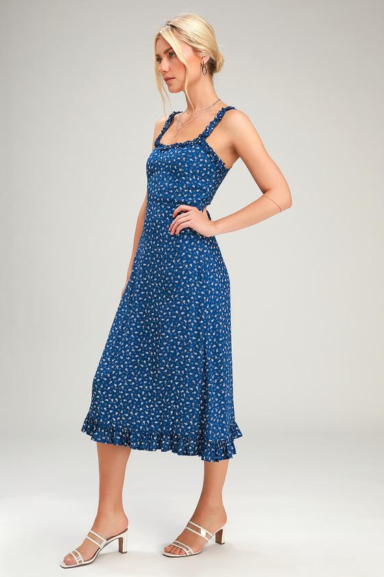 028beba290a941 Faithfull the Brand Noemie - Navy Blue Floral Print Dress - Midi