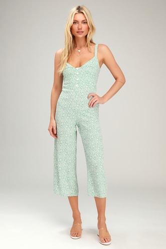 d9d1c54e3e River Seafoam Green Floral Print Culotte Jumpsuit
