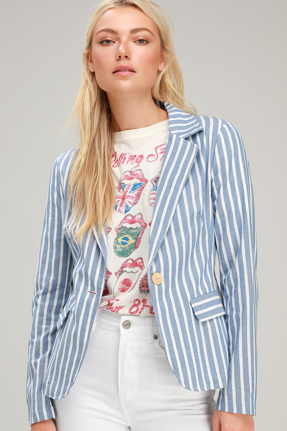 Halladay Light Blue Striped Blazer by Lulus