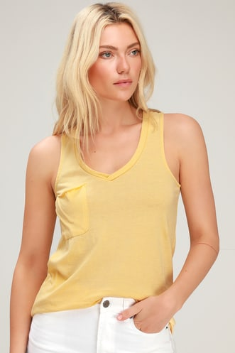 8aedc532fab1b The Pocket Racer Yellow Sleeveless V-neck Tank Top