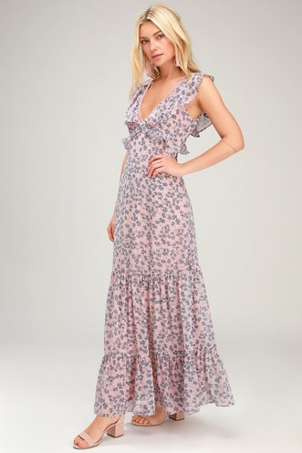 9fc56d9f9383 Darling Daydream Blue and Pink Floral Print Ruffled Maxi Dress