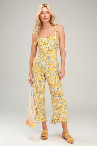ac383f3dbe7 Frankie Yellow Floral Print Tie-Strap Jumpsuit