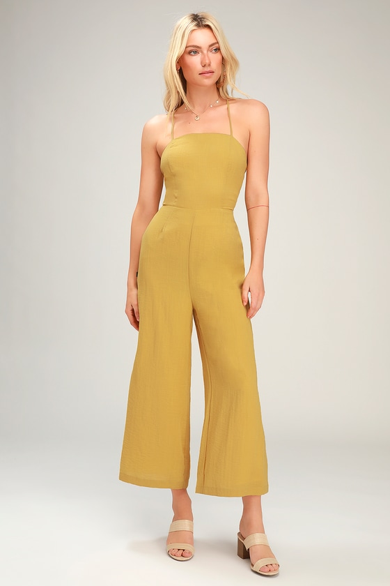 8bf2435e977 Mustard Yellow Jumpsuit - Culotte Jumpsuit - Lace-Up Jumpsuit