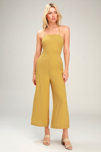 970c9185e16 Adelia Mustard Yellow Lace-Up Culotte Jumpsuit