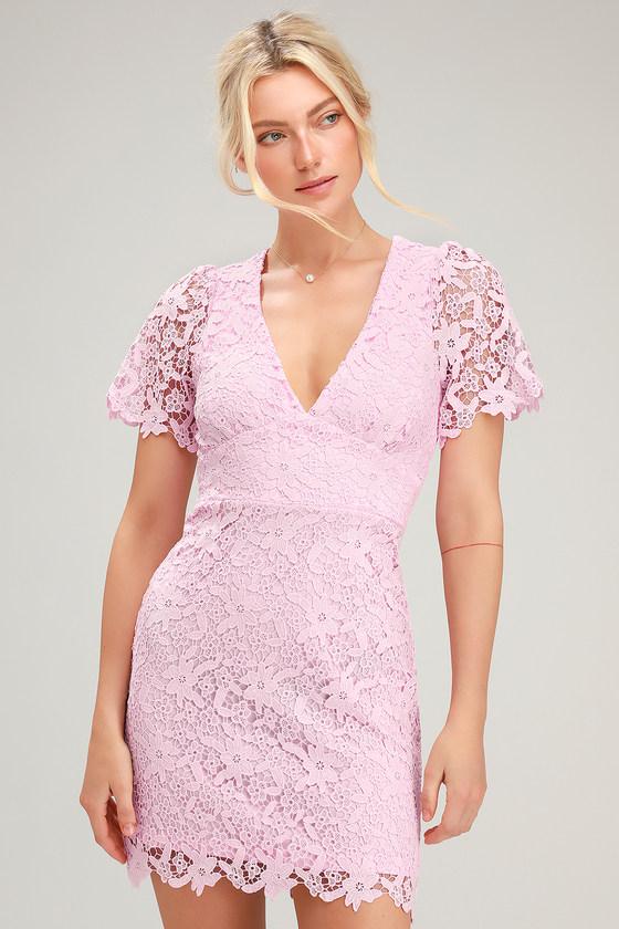 Sweetie Light Pink Lace Short Sleeve Mini Dress