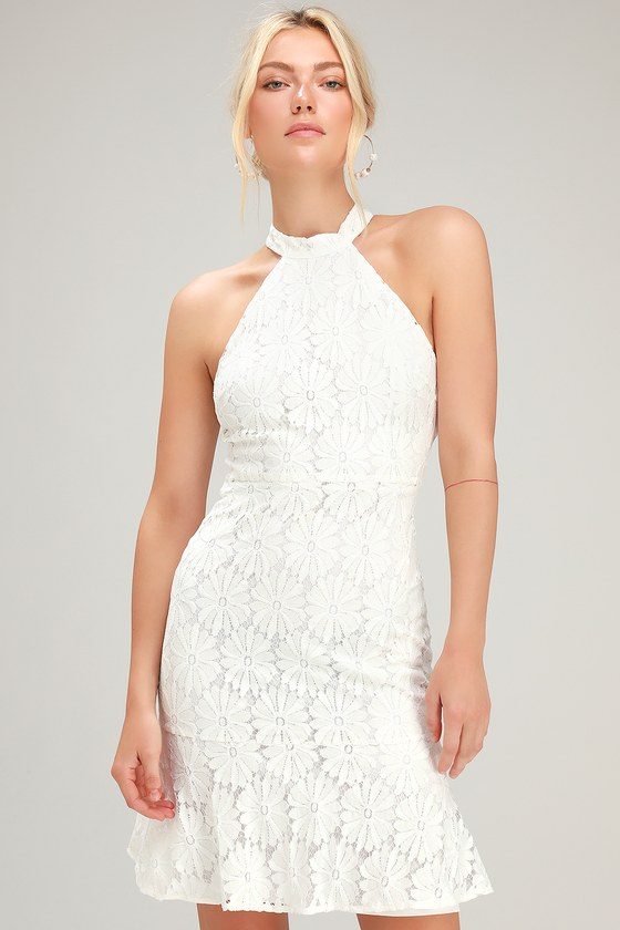 Song Of The Night White Lace Trumpet Hem Halter Dress
