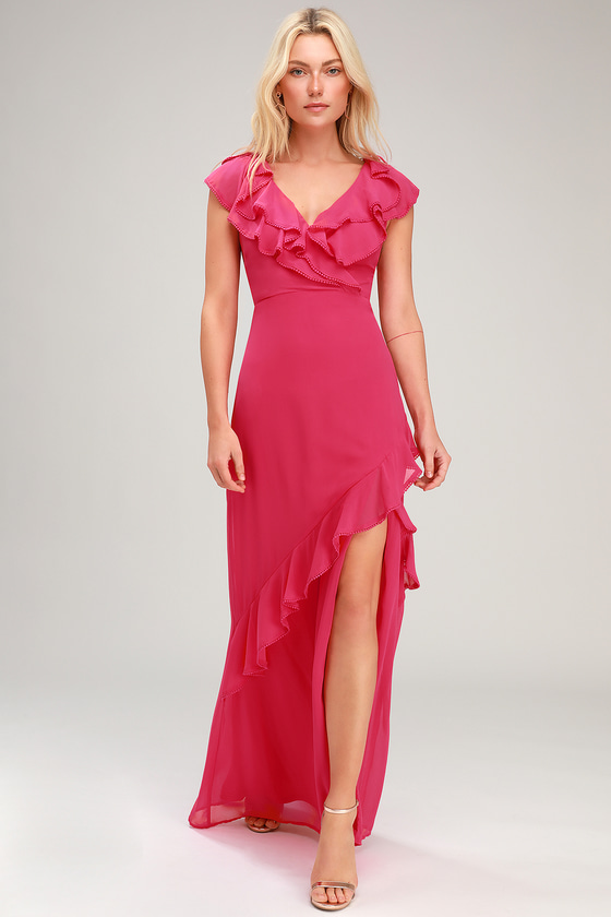 57c2b6cbce5 Lovely Pink Maxi Dress - Ruffled Maxi Dress - Surplice Maxi Dress