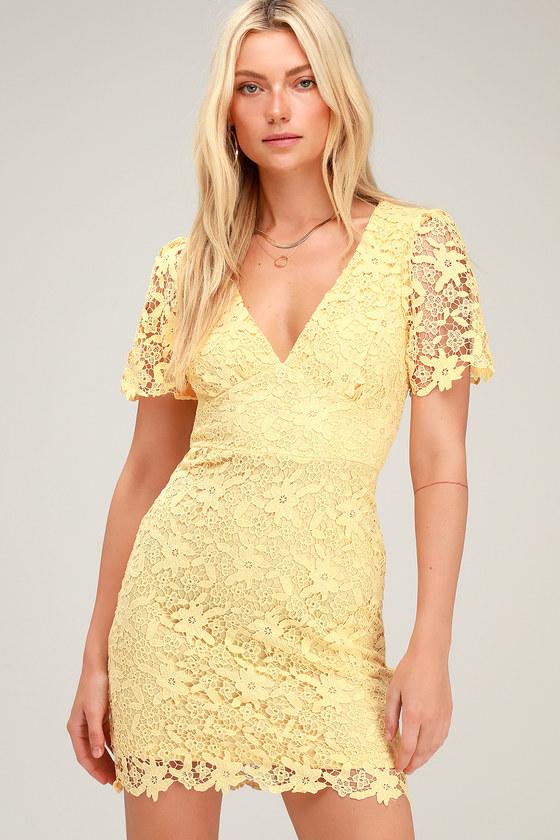 Yellow Lace Tea Length Dress