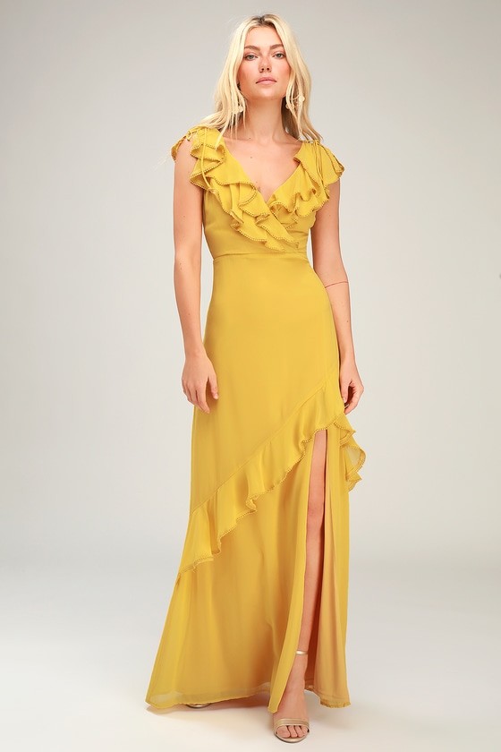 Love From Above Mustard Yellow Ruffled Surplice Maxi Dress - Lulus
