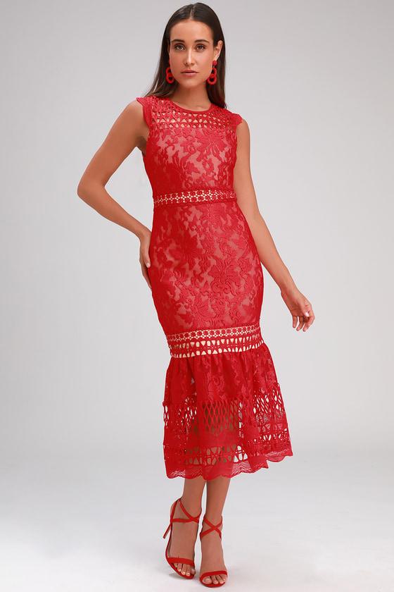 38b48a64aba3b Lovely Red Dress - Lace Dress - Midi Dress - Trumpet Midi