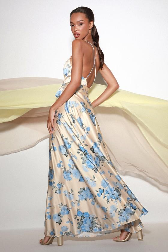 f3d61bad0010 Lovely Champagne Satin Dress - Floral Print Dress - Maxi Dress