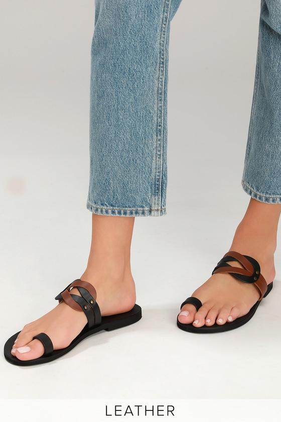 c89658bb3 Lulus Skyros - Black and Cognac Sandals - Genuine Leather Slides